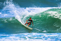 Two Times World Surfing Champion Tom Curren (USA) surfing during the running of the Wyland Gallery Pro at Haleiwa Beach Park in the 1990's:  circa 1993. Curren won the event. Photo: Joliphotos.com