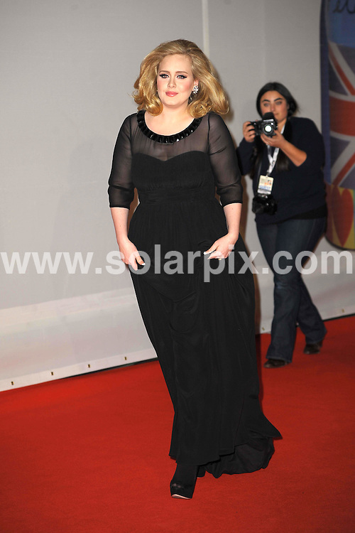 **ALL ROUND PICTURES FROM SOLARPIX.COM**                                             **WORLDWIDE SYNDICATION RIGHTS**                                                                                  Stars arrive at London's O2 Arena for the 2012 Brit Awards..This pic:   Adele                                          .JOB REF:    14495   MSR     DATE:   22.02.12                                                         **MUST CREDIT SOLARPIX.COM OR DOUBLE FEE WILL BE CHARGED**                                                                      **MUST AGREE FEE BEFORE ONLINE USAGE**                               **CALL US ON: +34 952 811 768 or LOW RATE FROM UK 0844 617 7637**