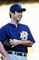 Hideo Nomo of the Milwaukee Brewers before a 1999 Major League Baseball season game against the Los Angeles Dodgers in Los Angeles, California. (Larry Goren/Four Seam Images)
