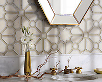 Jardin, a handmade mosaic shown in honed Bianco Antico, polished Calacatta, and Raw Fiber glass. Designed by Sara Baldwin Designs for New Ravenna.<br />