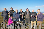 "CHAMPION DOG: ""FARRAN DELIGHT"" champion dog with is owners and trainer and owners been presented with the White Sands Hotel Cup & Paddy Reidy Memorial Trophy after she won the White Sands Hotel Cup & Paddy TReidy Trophy of ther day at Ballyheigue Coursing, on Sunday. Jonathan Besty (trainer), Jeremiah Hanafin and Mike Collins (ownetrs), L-r: Michael Anthony Reridy, Jonathan Best, Michael Collins, Tom Joe Hayes, Jerry Hannifin, Jimmy Bowne (Sponsor), at the Ballyheigue Coursing and nominator John Reidy. Front Lucas McCarthy..."