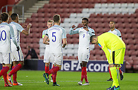 Celebrations as Demarai Gray (9) (Leicester City) of England scores the opening goal while Goalkeeper Pierluigi Gollini (Aston Villa) of Italy looks downbeat during the Under 21 International Friendly match between England and Italy at St Mary's Stadium, Southampton, England on 10 November 2016. Photo by Andy Rowland.