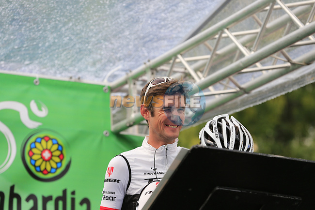 Franck Schleck (LUX) Trek Factory Racing arrives at sign on for the start of the last classic of the season Il Lombardia 2015 running 245km from Bergamo to Como, Italy. 4th October 2015.<br /> Picture: Eoin Clarke | Newsfile
