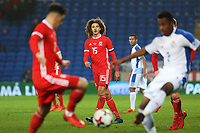 Ethan Ampadu of Wales watches on as Tom Lawrence of Wales is challenged by Michael Murillo of Panama during the International Friendly match between Wales and Panama at The Cardiff City Stadium, Wales, UK. Tuesday 14 November 2017