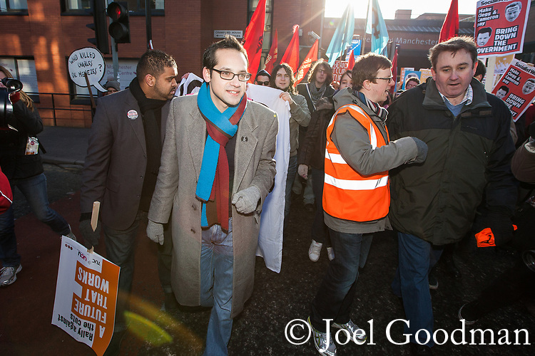 © Joel Goodman - 07973 332324 - all rights reserved . 29/01/2011, Manchester , UK . Student Union president AARON PORTER . Thousands of students , lecturers , trades unionists and supporters protest in Manchester against increased fees and cuts in Education Maintenance Allowance . Photo credit : Joel Goodman