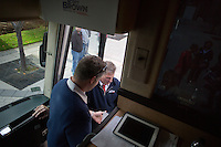 Senator Scott Brown (R-MA) enters his campaign bus  in Lowell, Massachusetts, USA, on Thurs., Nov. 2, 2012. Senator Scott Brown is seeking re-election to the Senate.  His opponent is Elizabeth Warren, a democrat.
