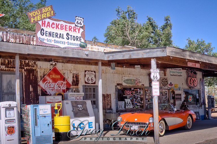 "Hackberry General Store is a museum of old Route 66 and has been called the ""mother lode of mother road memorabilia"". No gas is sold but vintage pumps stand outside the Mobilgas Pegasus leaps from the roof and the Greyhound dog welcomes bus travelers."