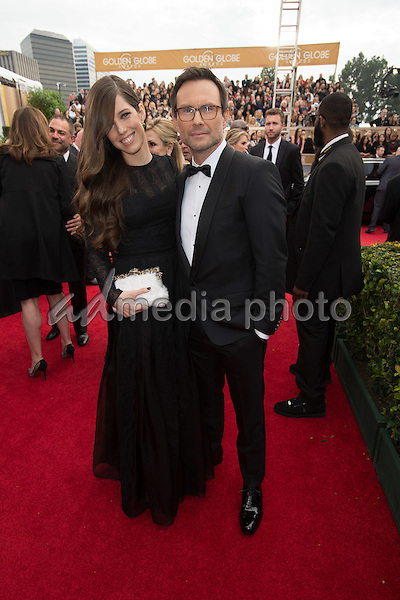 """Brittany Lopez and Christian Slater, Golden Globe nominee for BEST PERFORMANCE BY AN ACTOR IN A SUPPORTING ROLE IN A SERIES, MINI-SERIES OR MOTION PICTURE MADE FOR TELEVISION for his role in """"Mr. Robot,"""" arrives at the 73rd Annual Golden Globe Awards at the Beverly Hilton in Beverly Hills, CA on Sunday, January 10, 2016. Photo Credit: HFPA/AdMedia"""