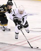 San Antonio Rampage's Eric Selleck, right, evades Texas Stars' Travis Morin during the second period of an AHL hockey game, Saturday, Oct. 13, 2012, in San Antonio. Texas won 2-1. (Darren Abate/pressphotointl.com)