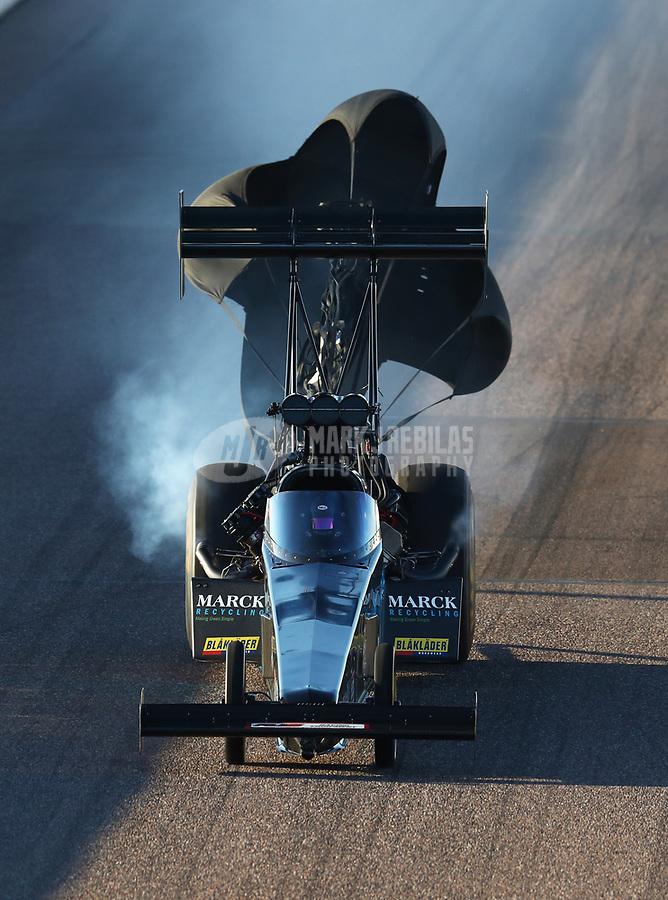 Feb 23, 2019; Chandler, AZ, USA; NHRA top fuel driver Scott Palmer during qualifying for the Arizona Nationals at Wild Horse Pass Motorsports Park. Mandatory Credit: Mark J. Rebilas-USA TODAY Sports