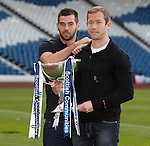 Joe Ledley and Frazer Wright at the Scottish Communities League Cup draw