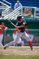 State College Spikes left fielder Andres Luna (4) at bat during a game against the Batavia Muckdogs on July 8, 2018 at Dwyer Stadium in Batavia, New York.  Batavia defeated State College 8-3.  (Mike Janes/Four Seam Images)