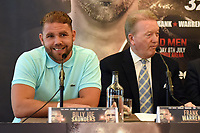 Billy Joe Saunders (L) and Frank Warren during a Press Conference at the Grosvenor House Hotel on 15th May 2017