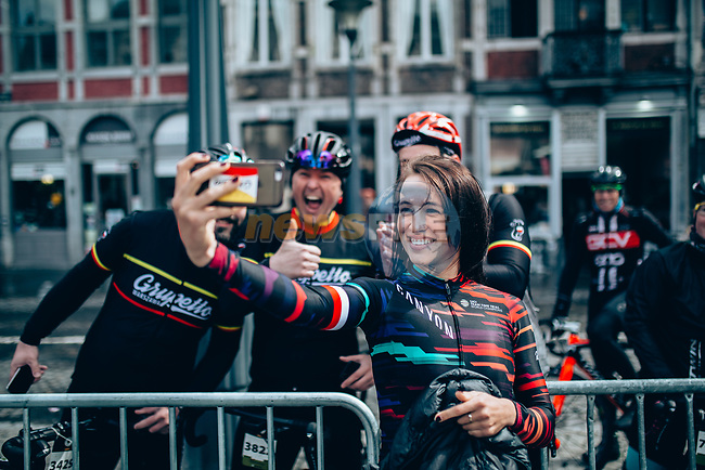 Katarzyna Niewiadoma (POL) Canyon-SRAM at team presentation before the 2019 Liège-Bastogne-Liège Femmes,  running 138.5km from Bastogne to Liege, Belgium. 27th April 2019<br /> Picture: ASO/Thomas Maheux | Cyclefile<br /> All photos usage must carry mandatory copyright credit (© Cyclefile | ASO/Thomas Maheux)