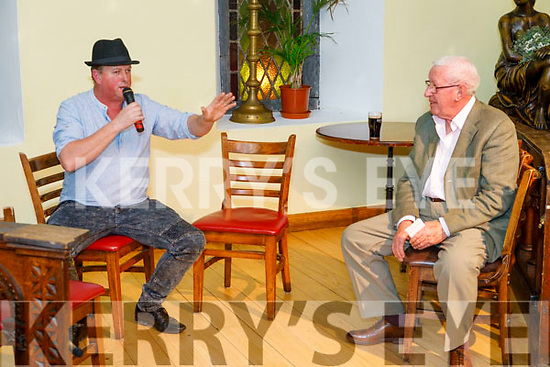Local storyteller Ger O'Connor telling stories with Sean Duignan on stage at a Night of Storytelling with Seán Duignan in Killorglin on Tuesday evening.