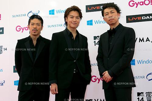 (L to R) MATSU, TAKAHIRO and USA (EXILE), June 14, 2014 : MTV VMAJ (Video Music Awards Japan 2014 at Maihama Amphitheater in Chiba, Japan. (Photo by Rodrigo Reyes Marin/AFLO)