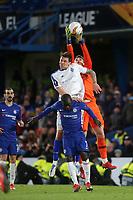 Chelsea goalkeeper, Kepa Arrizabalaga, makes a fine save under pressure from Dynamo Kiev's Denys Garmash during Chelsea vs Dynamo Kiev, UEFA Europa League Football at Stamford Bridge on 7th March 2019