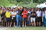 Phil Mickelson (USA) playing out of the crowd on the 4th.on day one of the USGA at Congressional country club, Bethesda, Washington, 16/6/11.Picture Fran Caffrey/www.golffile.ie