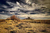 A tree in autumn color with Cabezon Peak in the distance under a stormy sky.