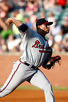 Mississippi Braves pitcher Enderson Franco (14) delivers a pitch during a game against the Chattanooga Lookouts on August 04, 2018 at AT&T Field in Chattanooga, Tennessee. (Andy Mitchell/Four Seam Images)