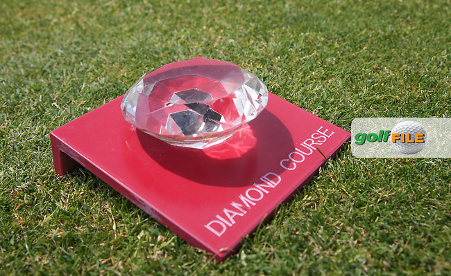 Club tees boast a glass diamond during the practice day ahead of the 2015 Lyoness Open powered by Greenfinity at the Diamond Country Club, Atzenbrugg, Vienna, Austria. 09/06/2015. Picture: Golffile | David Lloyd<br /> <br /> All photos usage must carry mandatory copyright credit (&copy; Golffile | David Lloyd)