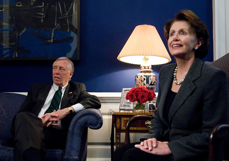 Majority Leader-elect Steny Hoyer, D-Md., and Speaker of the House-elect Nancy Pelosi, D-Calif., speak to the media in Pelosi's office on Monday, Nov. 20, 2006.