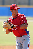 Philadelphia Phillies minor league third baseman Geancarlo Mendez vs. the Toronto Blue Jays in an Instructional League game at Englebert Minor League Complex in Dunedin, Florida;  October 7, 2010.  Photo By Mike Janes/Four Seam Images