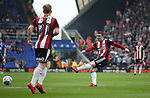 John Fleck of Sheffield Utd  shoots during the championship match at St Andrews Stadium, Birmingham. Picture date 21st April 2018. Picture credit should read: Simon Bellis/Sportimage
