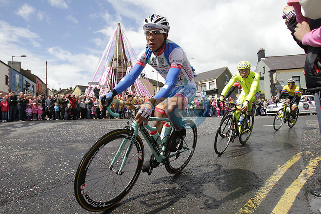 The breakaway group pass through Keady town centre along the route of the 3rd stage of the 2014 Giro d'Italia 187km running from Armagh to Dublin.11th May 2014.<br /> Picture: Eoin Clarke www.newsfile.ie