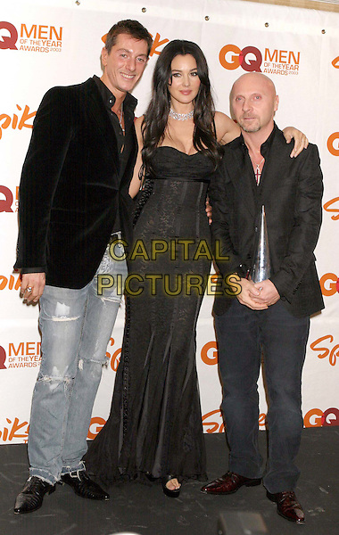 DOMENICO DOLCE, MONICA BELLUCCI & STEFANO GABBANA.Spike TV Presents GQ Men of the Year Awards 2003 .at The Regent Wall Street.black dolce & gabbana corset dress, full length, full-length.www.capitalpictures.com.sales@capitalpictures.com.©Capital Pictures.