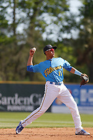Myrtle Beach Pelicans shortstop Aramis Ademan (11) in the field  during the first game of a doubleheader against the Frederick Keys at Ticketreturn Field at Pelicans Ballpark on April 8, 2018 in Myrtle Beach, South Carolina. Frederick defeated Myrtle Beach 6-4. (Robert Gurganus/Four Seam Images)