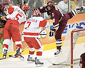 John Laliberte, David Van der Gulik, Mike Brennan - The Boston University Terriers defeated the Boston College Eagles 2-1 in overtime in the March 18, 2006 Hockey East Final at the TD Banknorth Garden in Boston, MA.