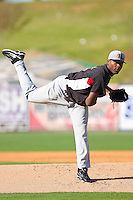 Starting pitcher Carlos Melo #31 of the Hickory Crawdads in action against the Kannapolis Intimidators at Fieldcrest Cannon Stadium on April 17, 2011 in Kannapolis, North Carolina.   Photo by Brian Westerholt / Four Seam Images