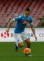 Napoli's Marek Hamsik controls the ball during the  italian serie a soccer match,between SSC Napoli and Empoli      at  the San  Paolo   stadium in Naples  Italy , January 31, 2016