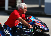 Sep 28, 2013; Madison, IL, USA; NHRA pro stock motorcycle rider Mike Berry during qualifying for the Midwest Nationals at Gateway Motorsports Park. Mandatory Credit: Mark J. Rebilas-