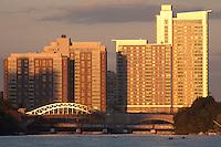 BU dormitory towers, sunrise rowing, Boston, MA
