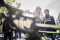 Adam Yates (GBR/Orica-Scott) interviewed at the start<br /> <br /> 103rd Liège-Bastogne-Liège 2017 (1.UWT)<br /> One Day Race: Liège › Ans (258km)