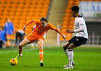 Blackpool's Nathan Shaw takes on Derby County's Archie Brown<br /> <br /> Photographer Alex Dodd/CameraSport<br /> <br /> The FA Youth Cup Third Round - Blackpool U18 v Derby County U18 - Tuesday 4th December 2018 - Bloomfield Road - Blackpool<br />  <br /> World Copyright &copy; 2018 CameraSport. All rights reserved. 43 Linden Ave. Countesthorpe. Leicester. England. LE8 5PG - Tel: +44 (0) 116 277 4147 - admin@camerasport.com - www.camerasport.com