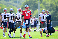 July 28, 2017: New England Patriots quarterback Tom Brady (12) leads player to a drill at the New England Patriots training camp held at Gillette Stadium, in Foxborough, Massachusetts. Eric Canha/CSM