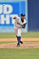 Asheville Tourists starting pitcher Erick Julio (29) delivers a pitch during a game against the Lakewood BlueClaws at McCormick Field on June 4, 2017 in Asheville, North Carolina. The BlueClaws defeated the Tourists 8-0. (Tony Farlow/Four Seam Images)