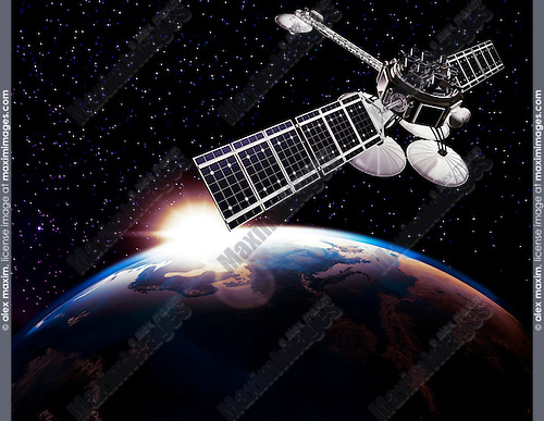 Communication satellite, Comsat above Earth globe lit by the rising Sun on black starry sky background. Space internet and telecommunications concept.