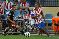 27.08.2012 SPAIN -  La Liga 12/13 Matchday 2th  match played between Atletico de Madrid vs Athletic Club de Bilbao (4-0) with hat-trick Radamel Falcao at Vicente Calderon stadium. The picture show  Joao Miranda de Souza (Brazilian defender of At. Madrid)