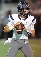 NWA Democrat-Gazette/ANDY SHUPE<br /> Taylor Powell of Fayetteville looks to pass against Springdale Friday, Oct. 9, 2015, during the first half of play at Jarrell Williams Bulldog Stadium in Springdale. Visit nwadg.com/photos to see more photographs from the game.