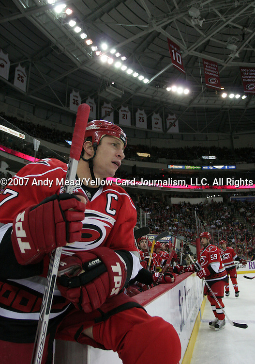 30 November 2007: Carolina's Rod Brind'Amour. The Carolina Hurricanes defeated the Washington Capitals 4-3 at the RBC Center in Raleigh, North Carolina in a 2007-08 National Hockey League regular season game.