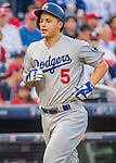 7 October 2016: Los Angeles Dodgers shortstop Corey Seager trots home after hitting a solo home run in the first inning of the NLDS Game 1 against the Washington Nationals at Nationals Park in Washington, DC. The Dodgers edged out the Nationals 4-3 to take the opening game of their best-of-five series. Mandatory Credit: Ed Wolfstein Photo *** RAW (NEF) Image File Available ***