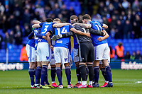 1st February 2020; St Andrews, Birmingham, Midlands, England; English Championship Football, Birmingham City versus Nottingham Forest; Birmingham City team huddle before the game