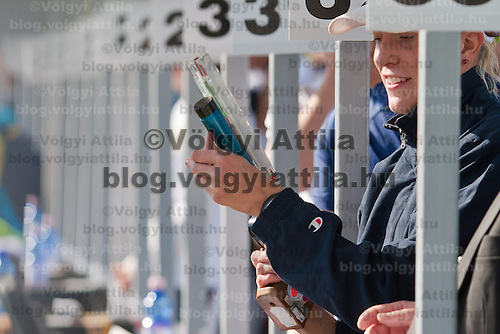 Competitor prepares for the final part of the Modern Pentathlon Women's World Cup held in Budapest, Hungary on May 07, 2011. ATTILA VOLGYI