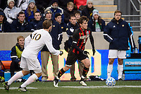 Maryland Terrapins defender Mikey Ambrose (5). The Notre Dame Fighting Irish defeated the Maryland Terrapins 2-1 during the championship match of the division 1 2013 NCAA  Men's Soccer College Cup at PPL Park in Chester, PA, on December 15, 2013.