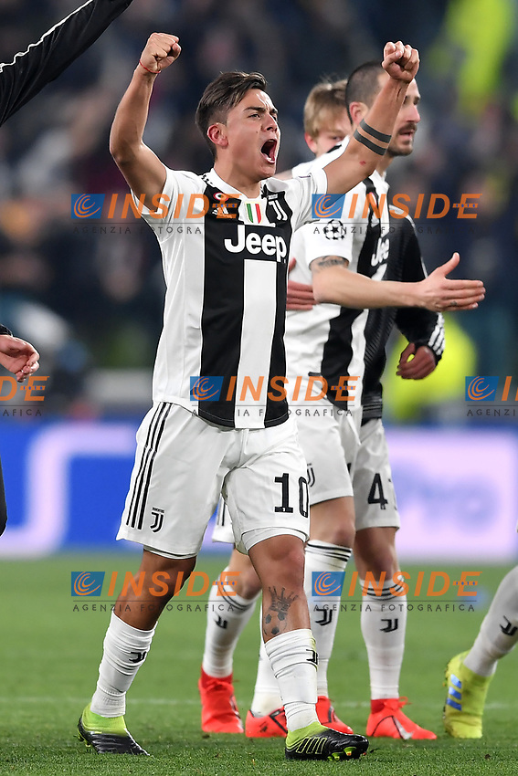Paulo Dybala of Juventus celebrates at the end of the Uefa Champions League 2018/2019 round of 16 second leg football match between Juventus and Atletico Madrid at Juventus stadium, Turin, March, 12, 2019 <br />  Foto Andrea Staccioli / Insidefoto