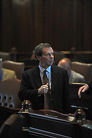 Illinois Senate President John Cullerton appears briefly on the floor of the Illinois State Senate before returning to closed door meetings at midday during the closing marathon legislative sessions, expected to end Sunday, that marks the end of the legislative year in Springfield, Illinois on May 27, 2009.